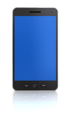 Blank smartphone, front view, 3d render
