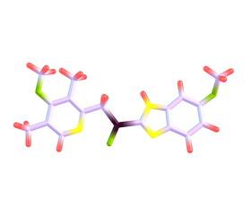 Esomeprazole molecule isolated on white