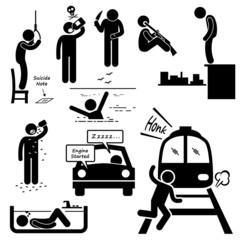 Suicidal Commit Suicide Methods Pictogram