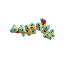 Metoprolol molecule isolated on white