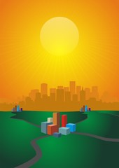 scene sunset & building block