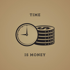 Time is money abstract, vector