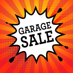 Comic explosion with text Garage Sale, vector
