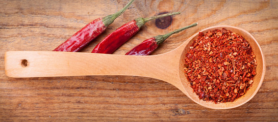 paprika powder spices on spoons