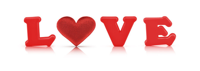 red love alphabet and fabric heart with clipping path