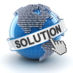 IT solution symbol with digital globe, 3d render