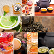collection of different herbal tea infusion collage