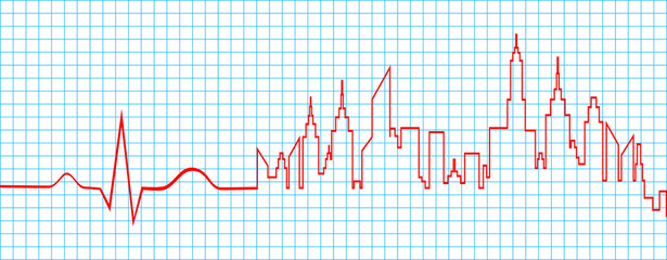 Electrocardiogram Line With Life Waves And City Abstract Vector