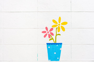 flowers paint on a white wall background