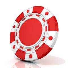 Red gambling poker chip. 3D render isolated on white