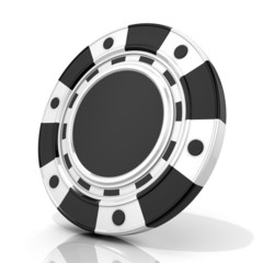 Black gambling poker chip. 3D render isolated on white