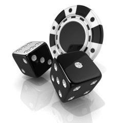 Black gambling chips and dices. 3D render isolated on white