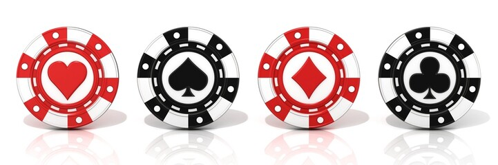 Set of standing gambling chips. Spade, heart diamond and club.