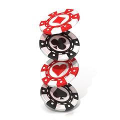 Set of falling gambling chips. Spade, heart diamond and club.