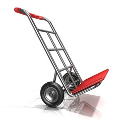 An empty hand truck, isolated on white background. 3D render