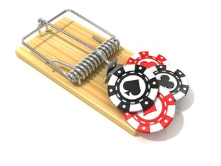 Set of gambling casino chips, like bait, in wooden mousetrap. 3D