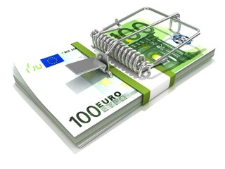 3D render mousetrap installed on euro banknote stack, isolated