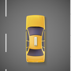 Yellow car, taxi. Top view.