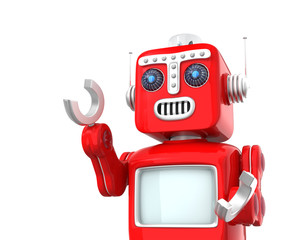 Cute vintage robot raise right hand on white background