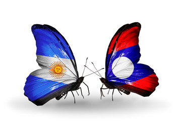 Two butterflies with flags Argentina and Laos
