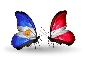 Two butterflies with flags Argentina and  Latvia