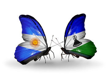 Two butterflies with flags Argentina and Lesotho