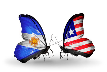 Two butterflies with flags Argentina and Liberia