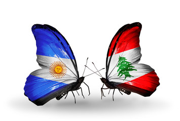 Two butterflies with flags Argentina and Lebanon
