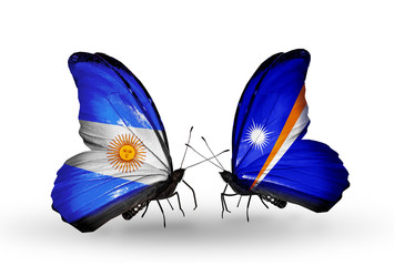 Two butterflies with flags Argentina and Marshall islands