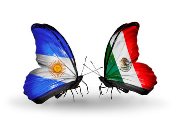 Two butterflies with flags Argentina and Mexico