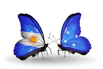 Two butterflies with flags Argentina and Micronesia