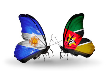 Two butterflies with flags Argentina and Mozambique