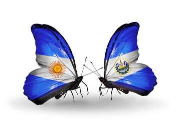 Two butterflies with flags Argentina and Salvador