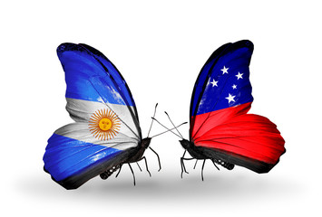 Two butterflies with flags Argentina and Samoa
