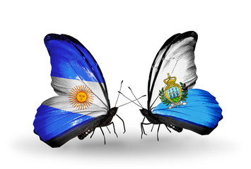 Two butterflies with flags Argentina and San Marino