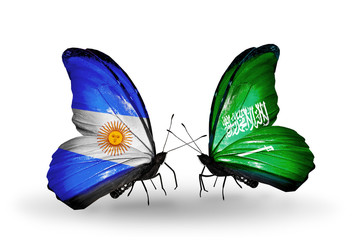 Two butterflies with flags Argentina and Saudi Arabia