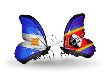 Two butterflies with flags Argentina and Swaziland
