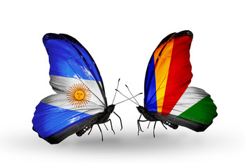 Two butterflies with flags Argentina and Seychelles