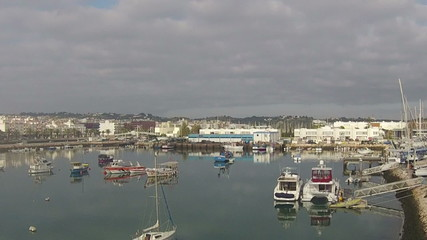 Aerial from the harbot in Lagos in the Algarve Portugal