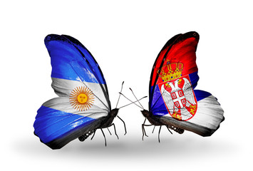 Two butterflies with flags Argentina and Serbia