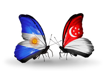 Two butterflies with flags Argentina and Singapore