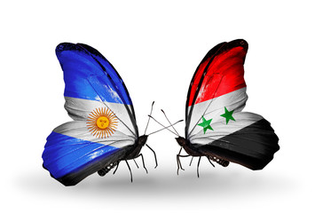 Two butterflies with flags  Argentina and Syria