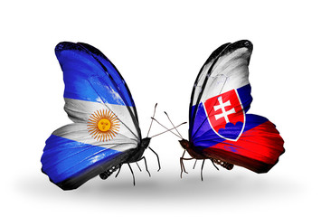 Two butterflies with flags Argentina and Slovakia