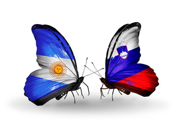 Two butterflies with flags Argentina and Slovenia