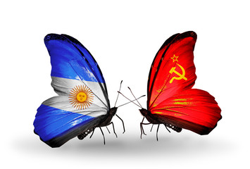 Two butterflies with flags Argentina and Soviet Union