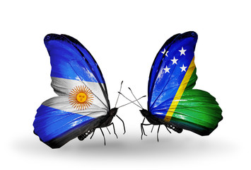 Two butterflies with flags Argentina and Solomon Islands