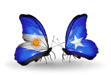Two butterflies with flags Argentina and Somalia