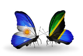 Two butterflies with flags Argentina and Tanzania