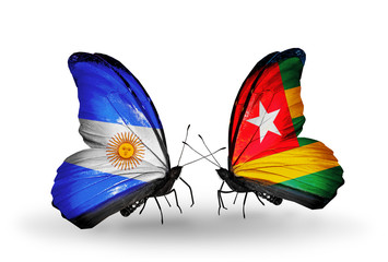 Two butterflies with flags Argentina and  Togo