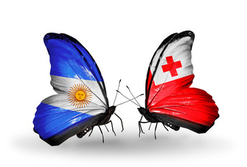Two butterflies with flags Argentina and Tonga